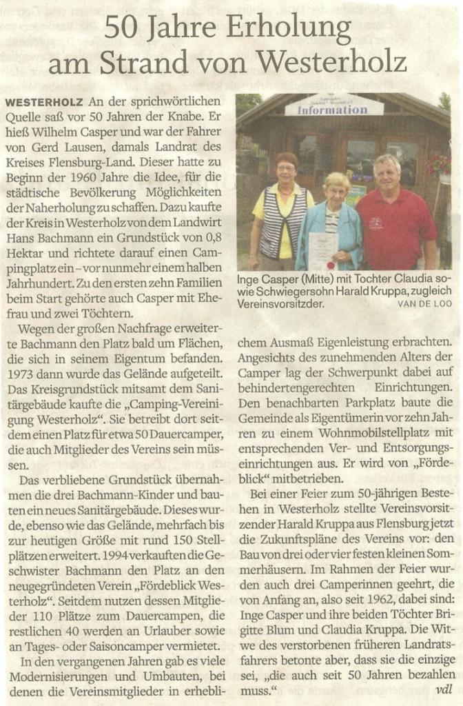 50 Jahre Campingplatz Westerholz - Bericht aus dem Flensburger Tageblatt vom 03.09.2012